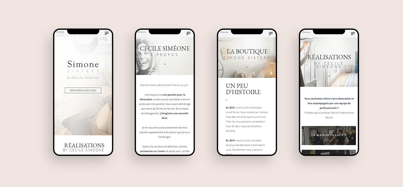 Site de la boutique Simone Sisters
