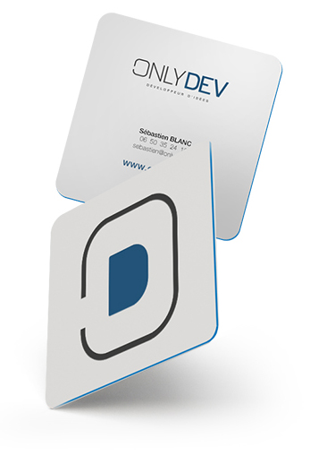 Conception & direction artistique de la charte graphique complète et du site web OnlyDev.