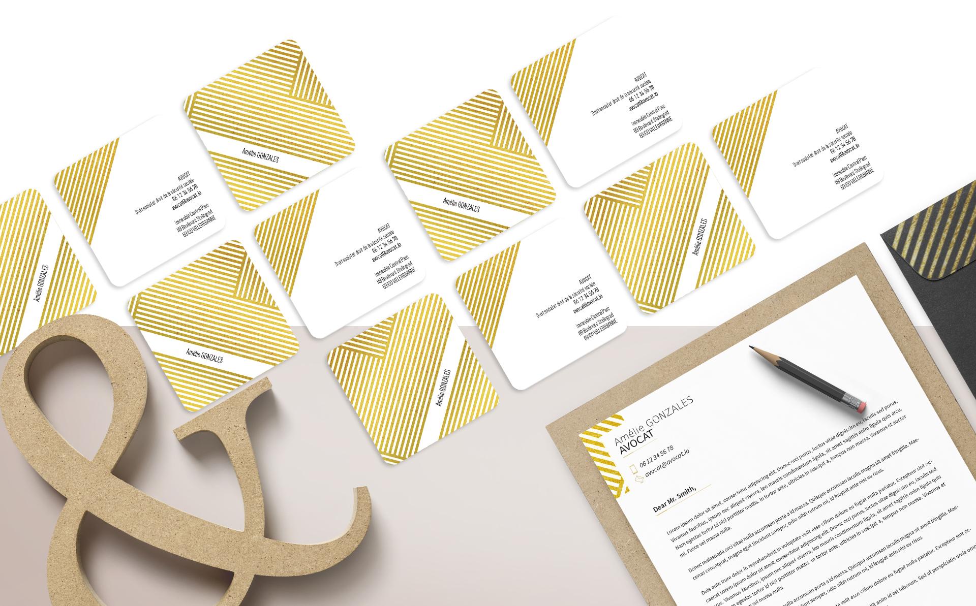 Direction artistique de l'identité visuelle & conception de la carte de visite et du papier à en-tête pour un avocat en droit social & droit de la sécurité sociale.